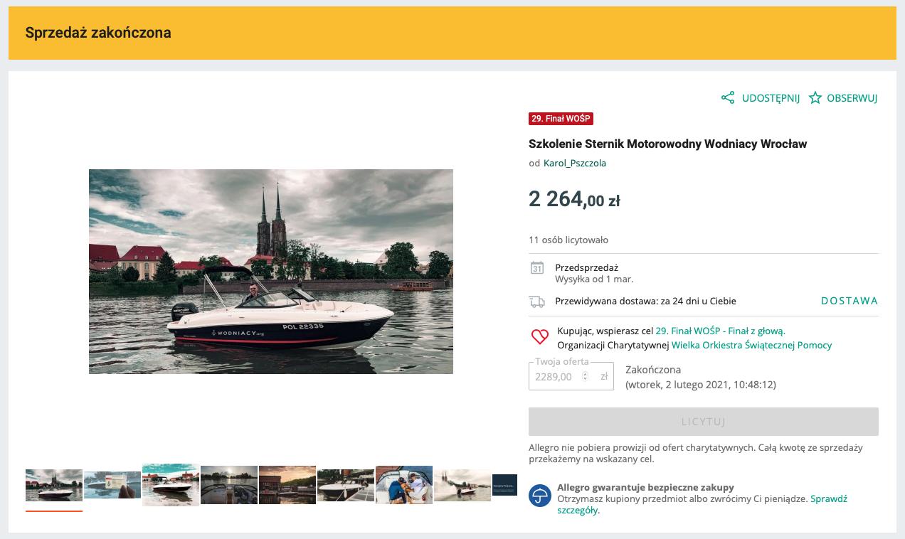 rekordowa kwota w 2021 roku na licytacji wosp 29 kursu na patent sternika motorowodnego we wroclawiu